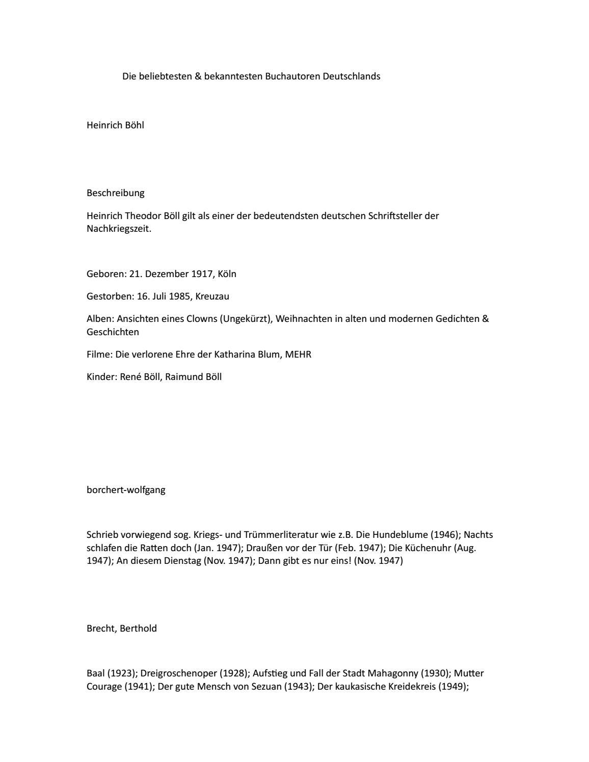 Die Beliebsten Bekanntesten Autoren Deuschlands By