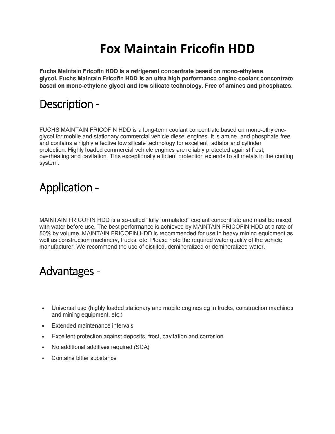 Kaufen Fuchs Maintain Fricofin Hdd Online | Schmierstoffe-dm