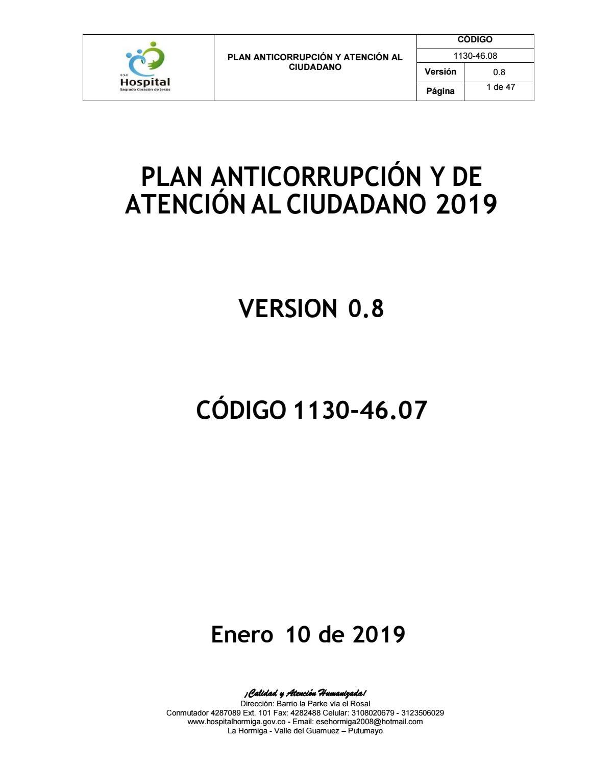 Plan Anticorrupcion Y Atencion Al Ciudadano 2019 By Hospital
