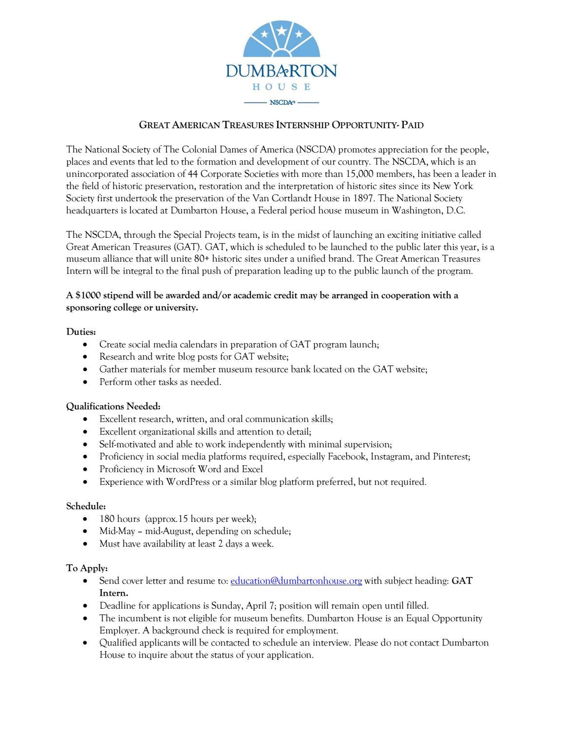 paid-summer-great-american-treasures-internship by Dumbarton