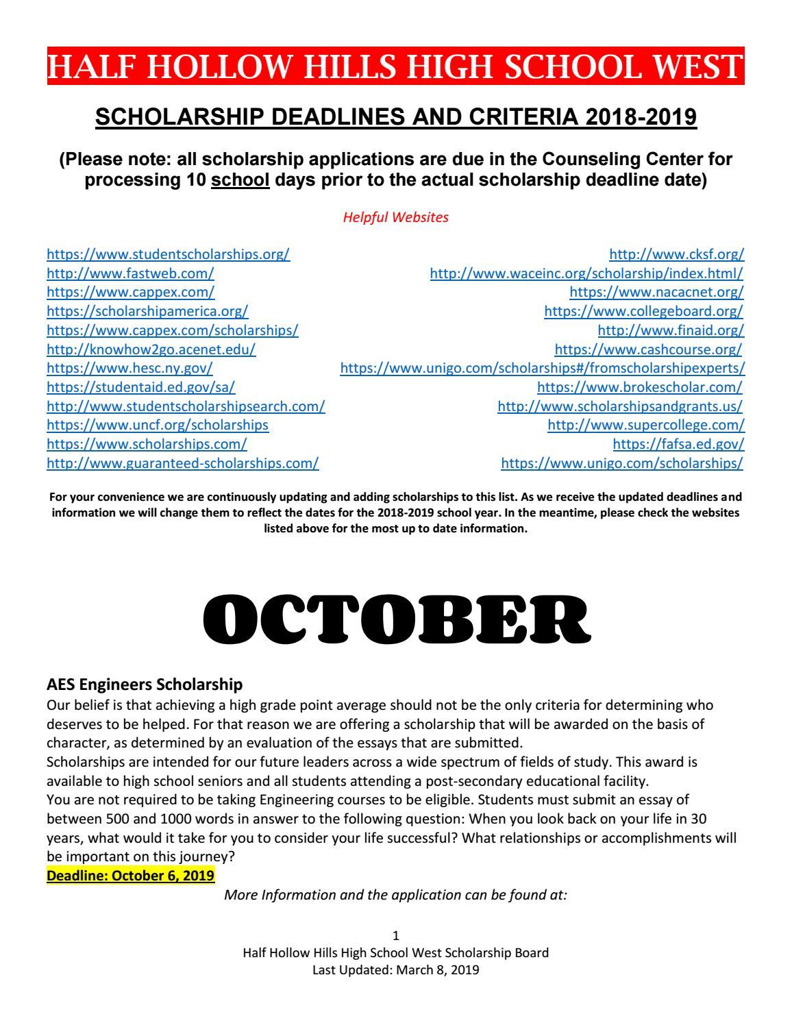 HSW Scholarship Board 3-8-19 by Half Hollow Hills Schools