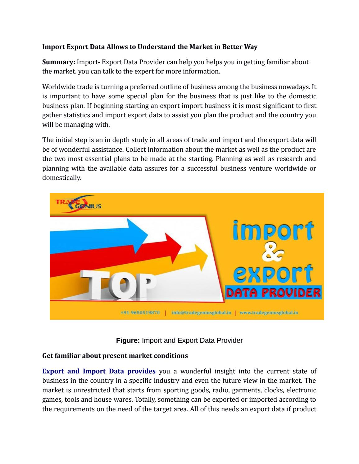 Import Export Data Allows to Understand the Market in Better Way by