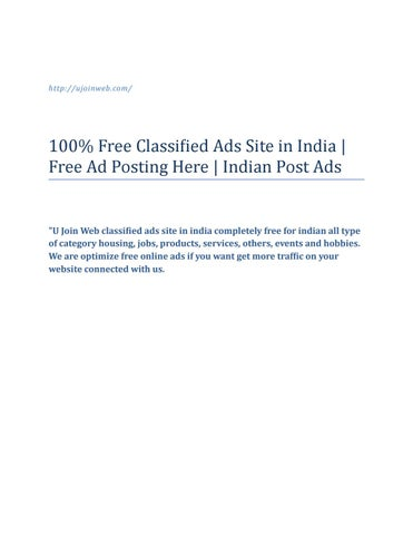 100% Free Classified Ads Site in India | Free Ad Posting Here
