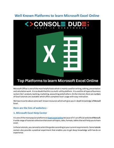 Well Known Platforms to learn Microsoft Excel Online by