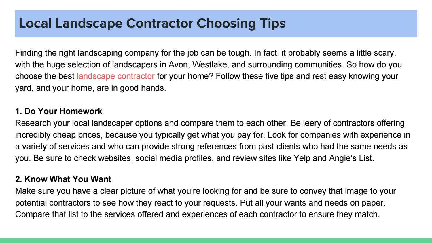 5 Tips For Choosing The Right Landscape Contractor By Barry Allen Issuu