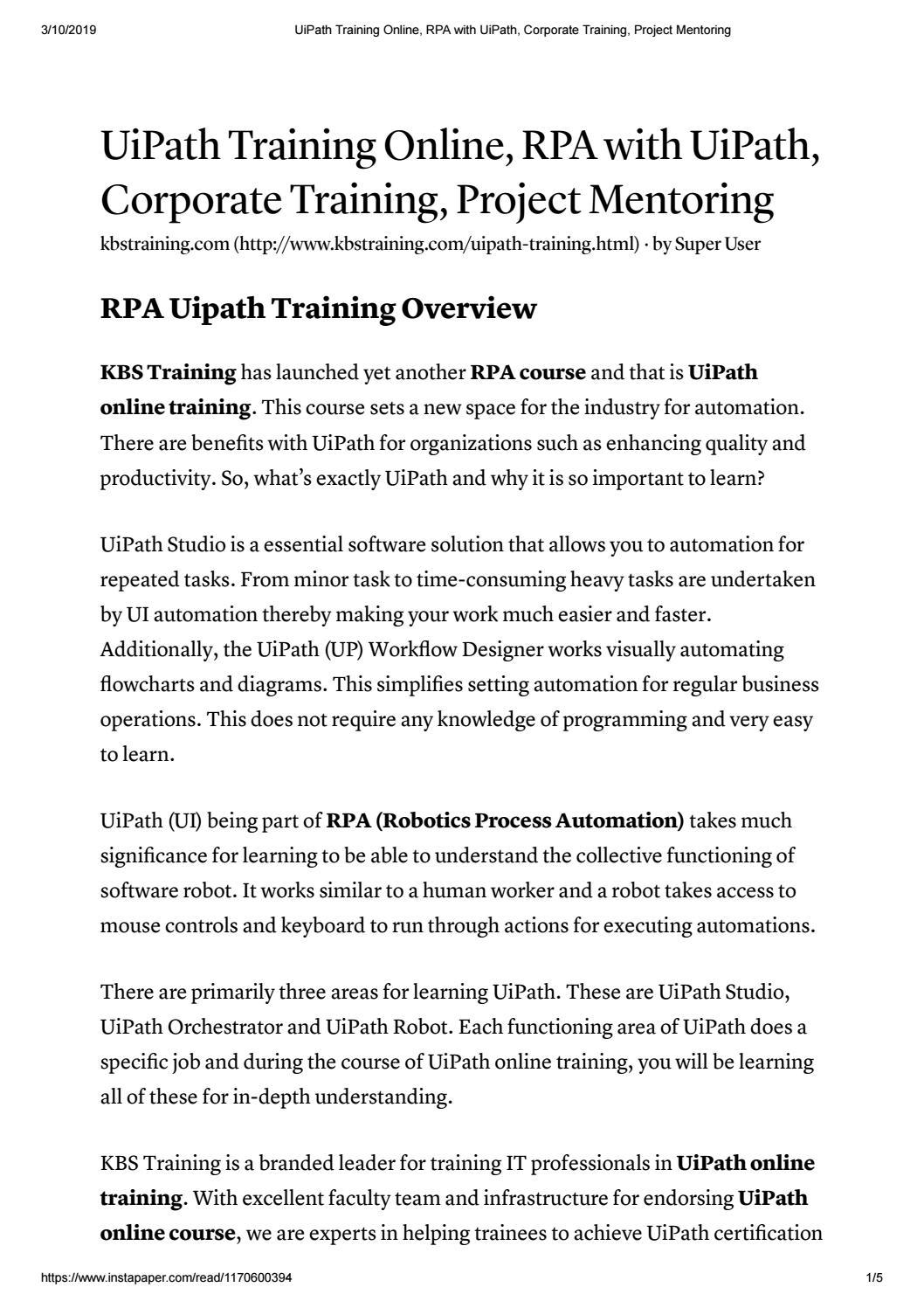 UiPath Training | UiPath Online Training - KBS Training