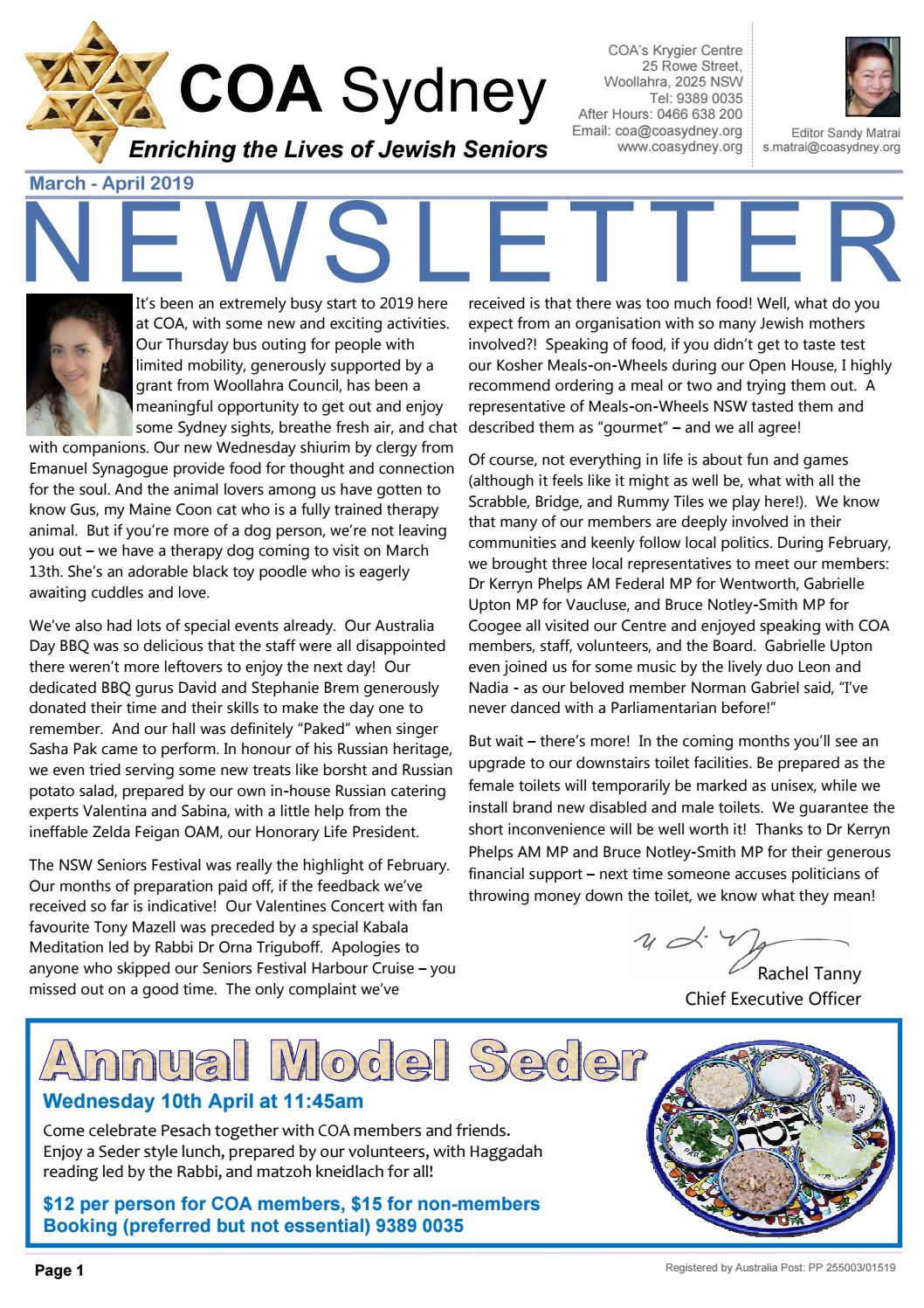 COA Newsletter March - April 2019 by Coa Sydney - issuu