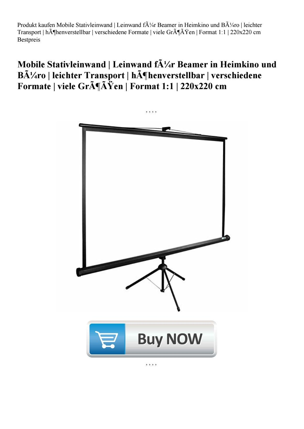 Mobile Stativleinwand 220x165 cm Format 4:3 Leinwand f/ür Beamer in Heimkino und B/üro leichter Transport h/öhenverstellbar verschiedene Formate viele Gr/ö/ßen