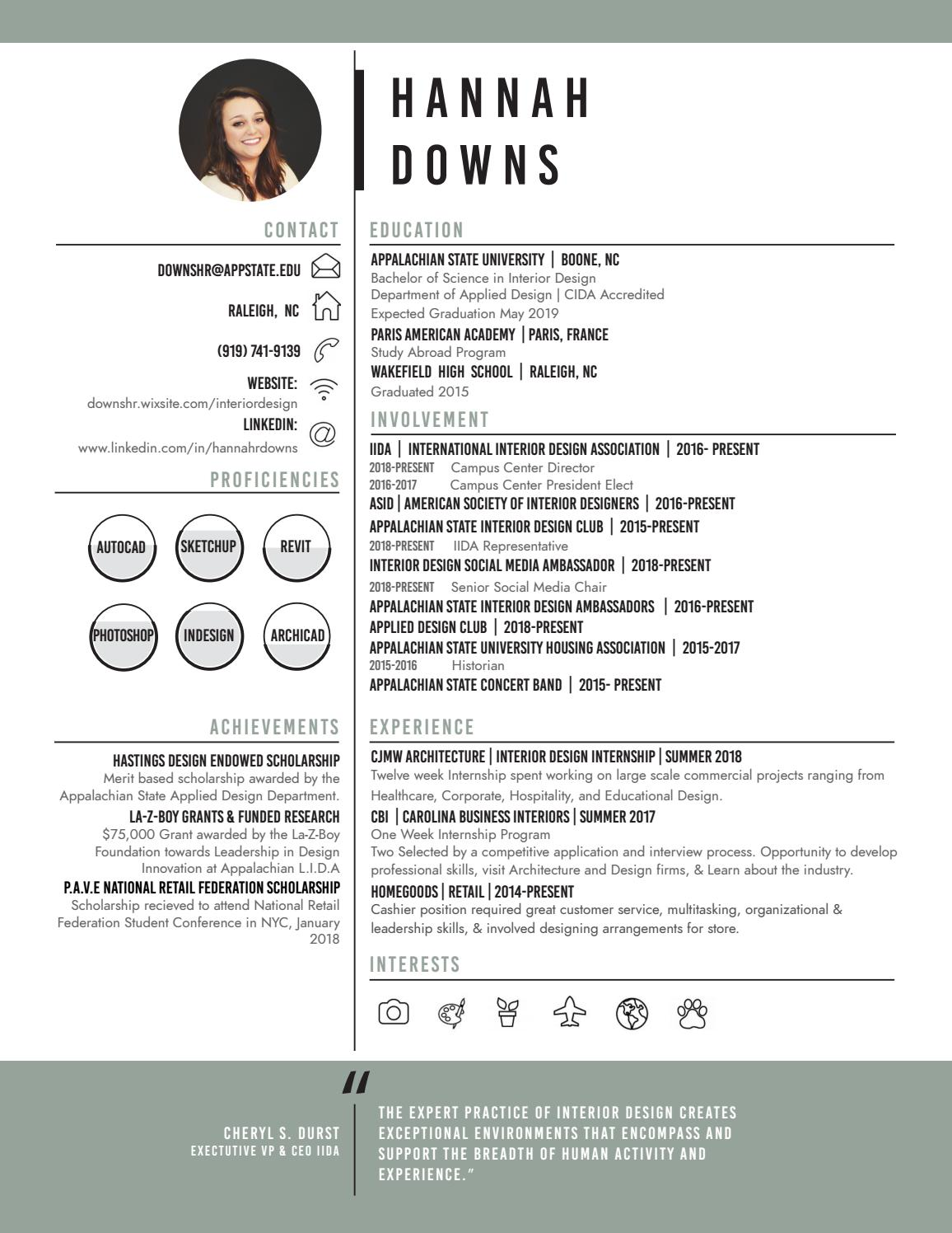 Hannah Downs Interior Design Resume By Hannahdowns28 Issuu
