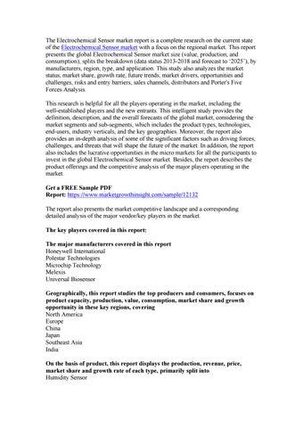 Electrochemical Sensor Market Growth Analysis, Share, Demand