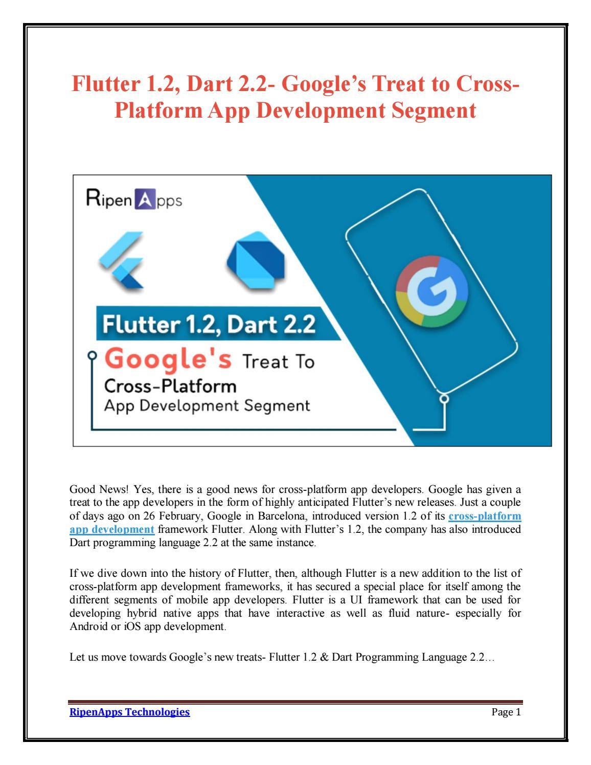 Flutter 1 2, Dart 2 2- Google's Treat to Cross-Platform App