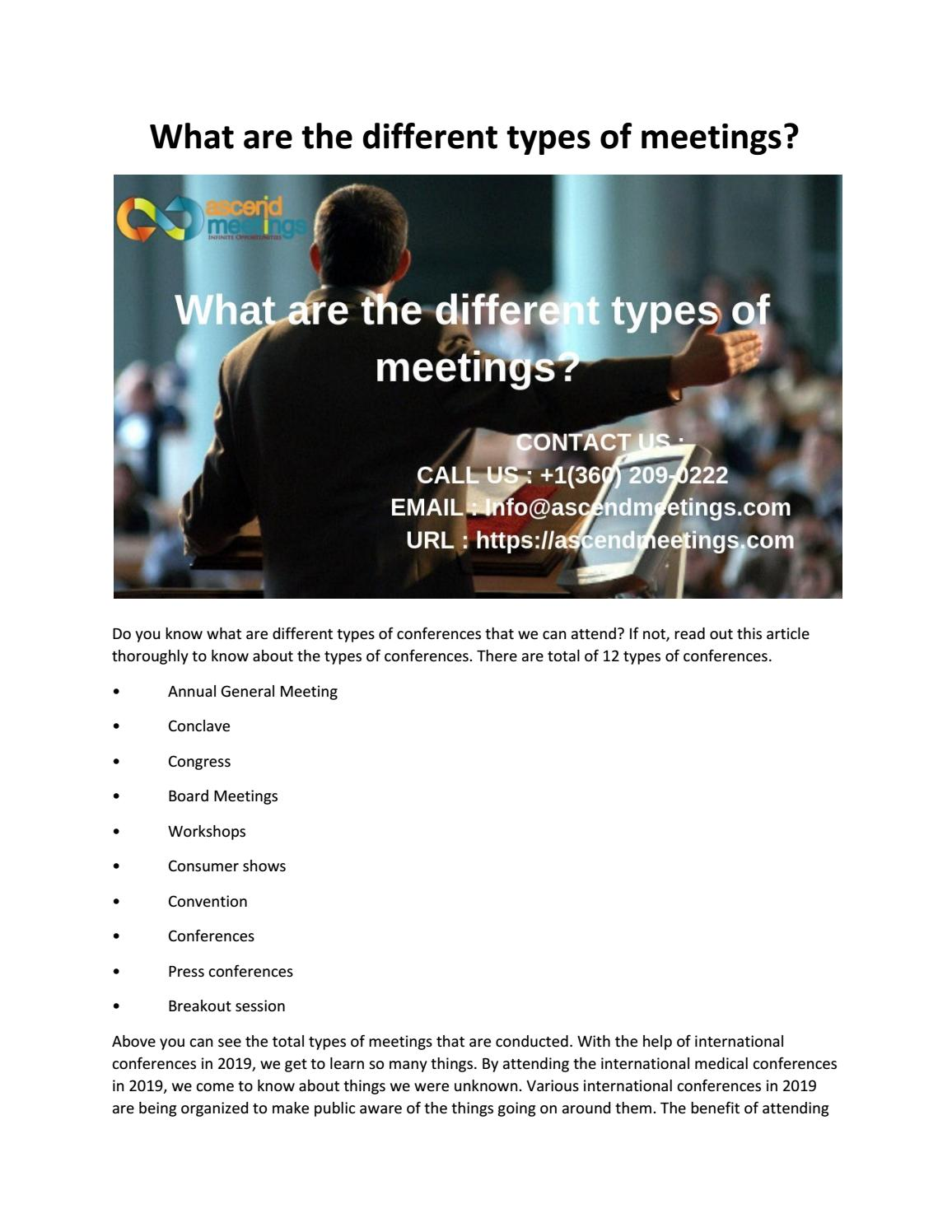 What are the different types of meetings? by ascendmeetingsseo - issuu