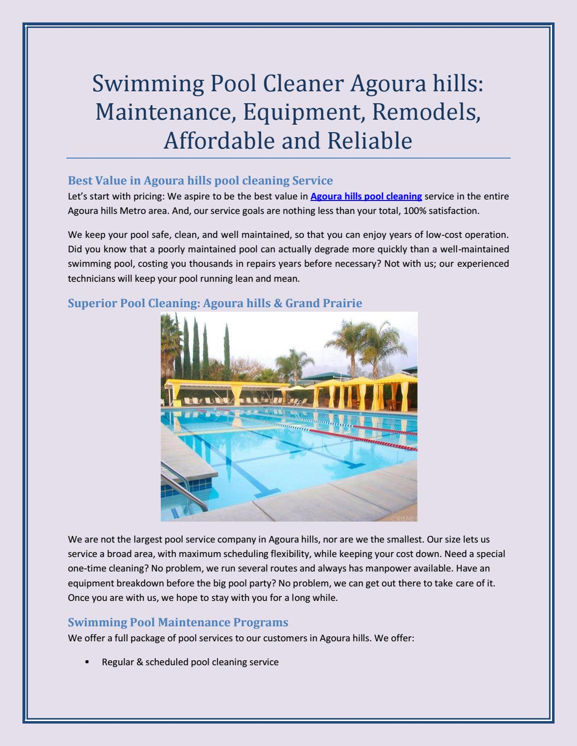 Swimming Pool Cleaner Agoura Hills Maintenance Equipment Remodels Affordable And Reliable By Stanton Pools Issuu