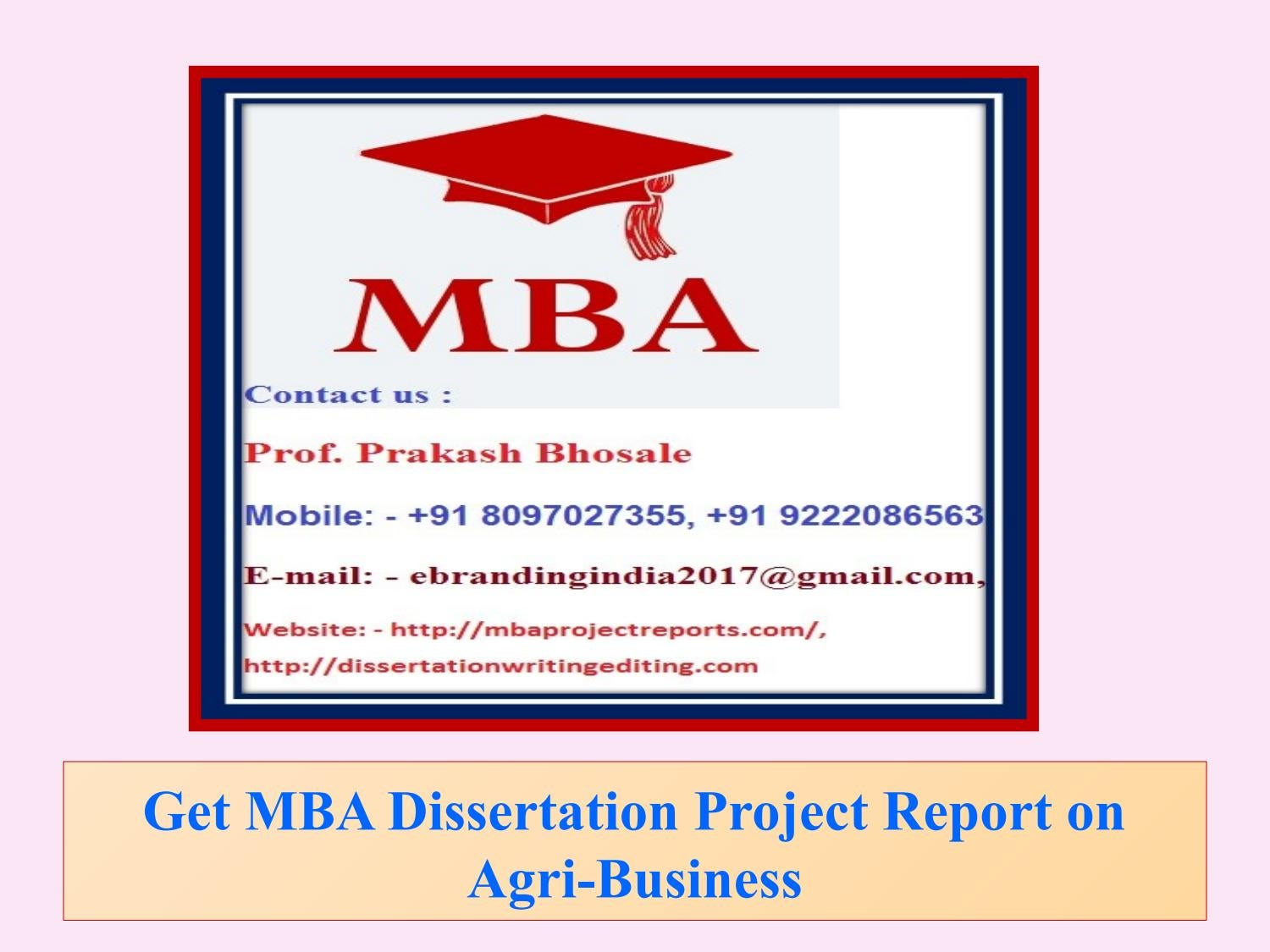 Dissertation project report for mba systems