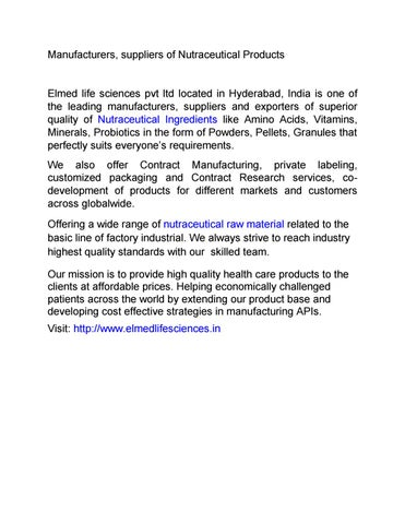 Manufacturers and suppliers of nutraceuticals by