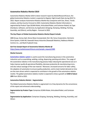 Global Automotive Robotics Market Research Report - Forecast