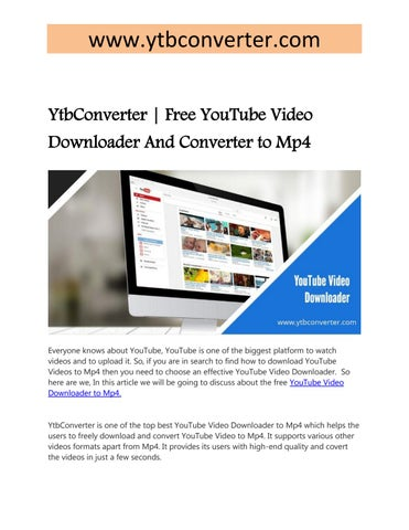 youtube video downloader mp4 format free