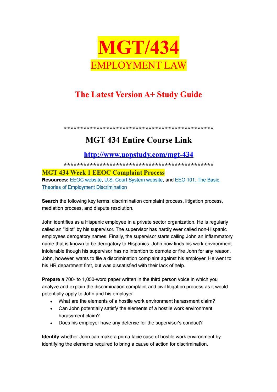 MGT 434 Week 1 EEOC Complaint Process - uopstudy com by