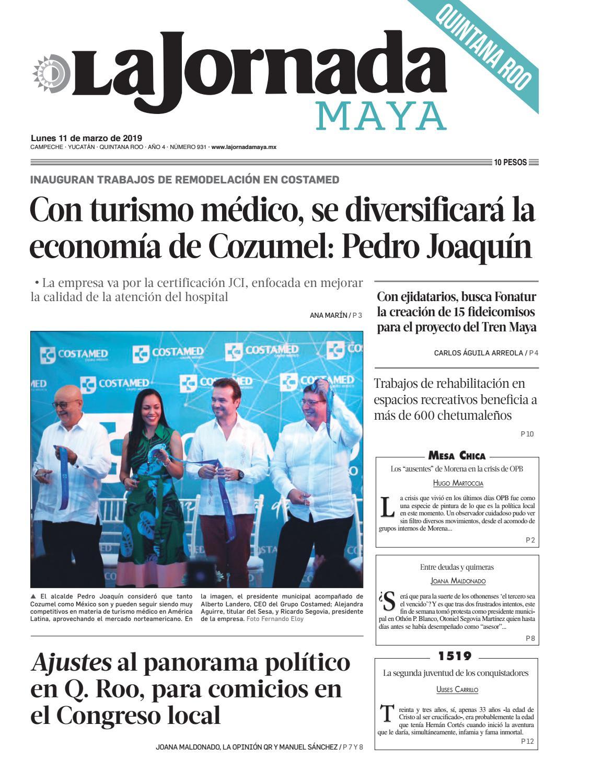 f32024e39 La Jornada Maya · lunes 11 de marzo de 2019 by La Jornada Maya - issuu