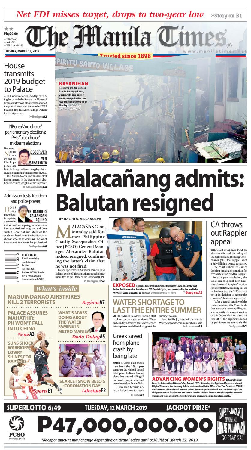 THE MANILA TIMES | MARCH 12, 2019 by The Manila Times - issuu