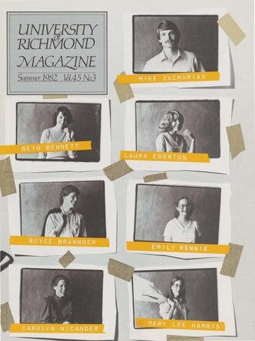 University of Richmond Magazine Summer 1982 by UR Scholarship