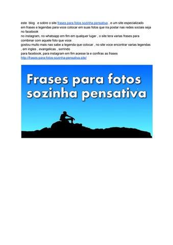 Frases Para Fotos Sozinha Pensativa By