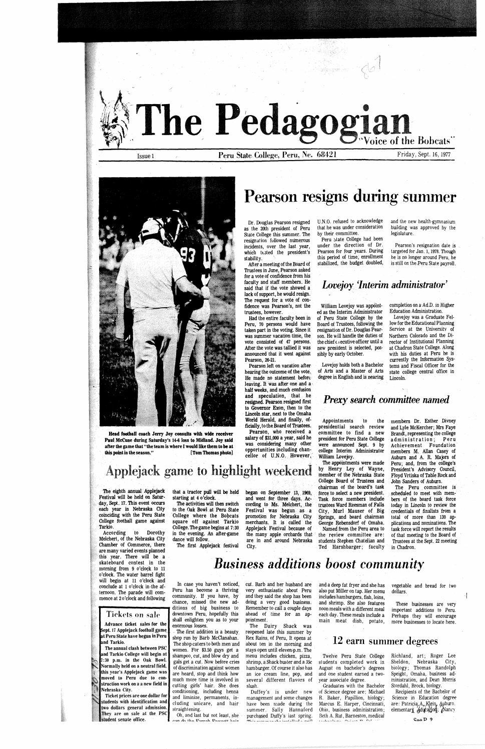 eac49770ddf 1977-1978 Peru Pedagogian - issues 1-10 by Peru State College Library -  issuu
