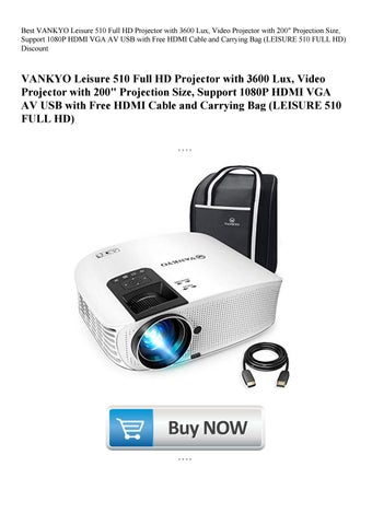 "VANKYO Leisure 510 Full HD Projector 3600Lux 200/""Projection 1080P HDMI VGA USB"