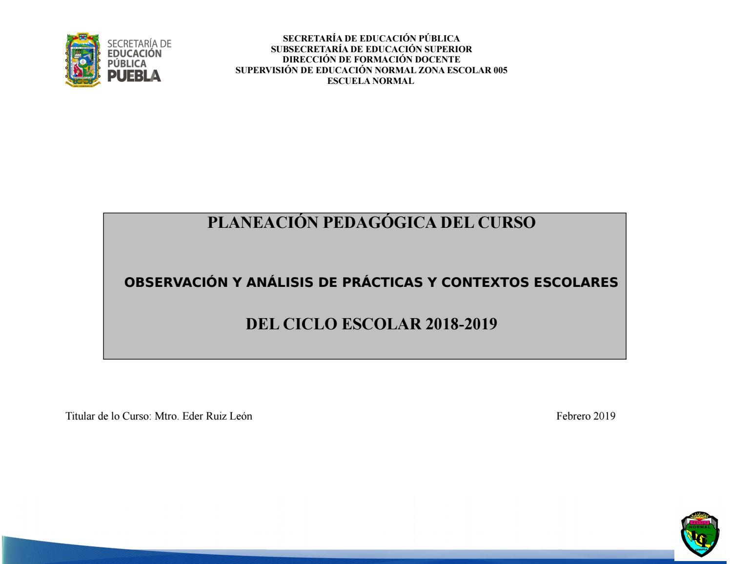 Planeación De Observación Y Análisis De Práctica Y Contextos