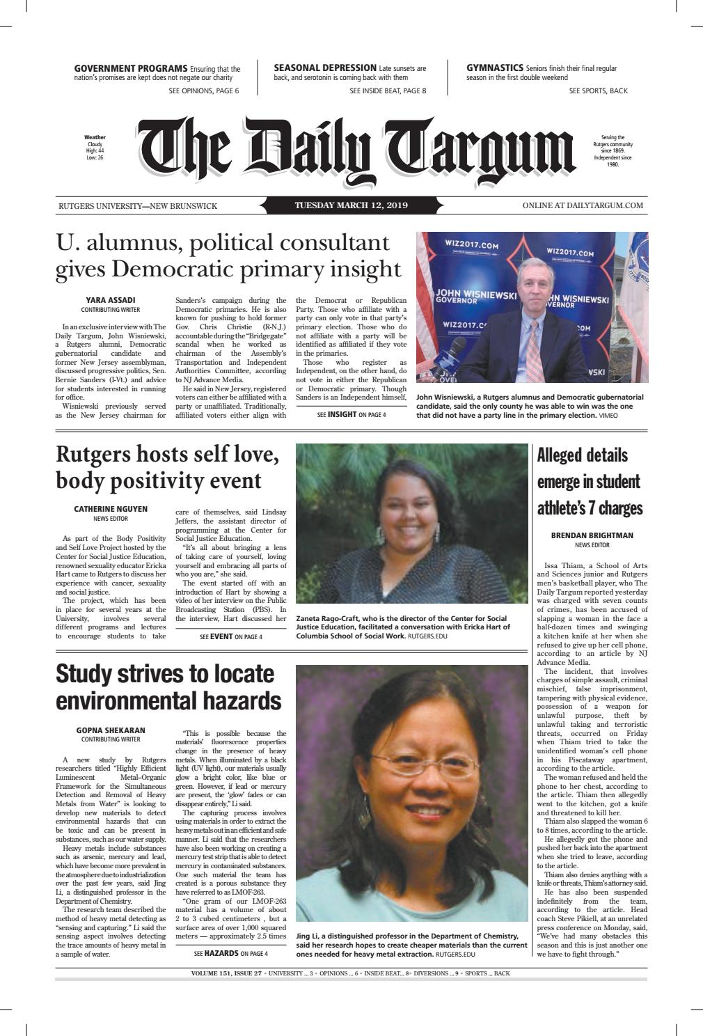 The Daily Targum 3 12 19 by The Daily Targum - issuu