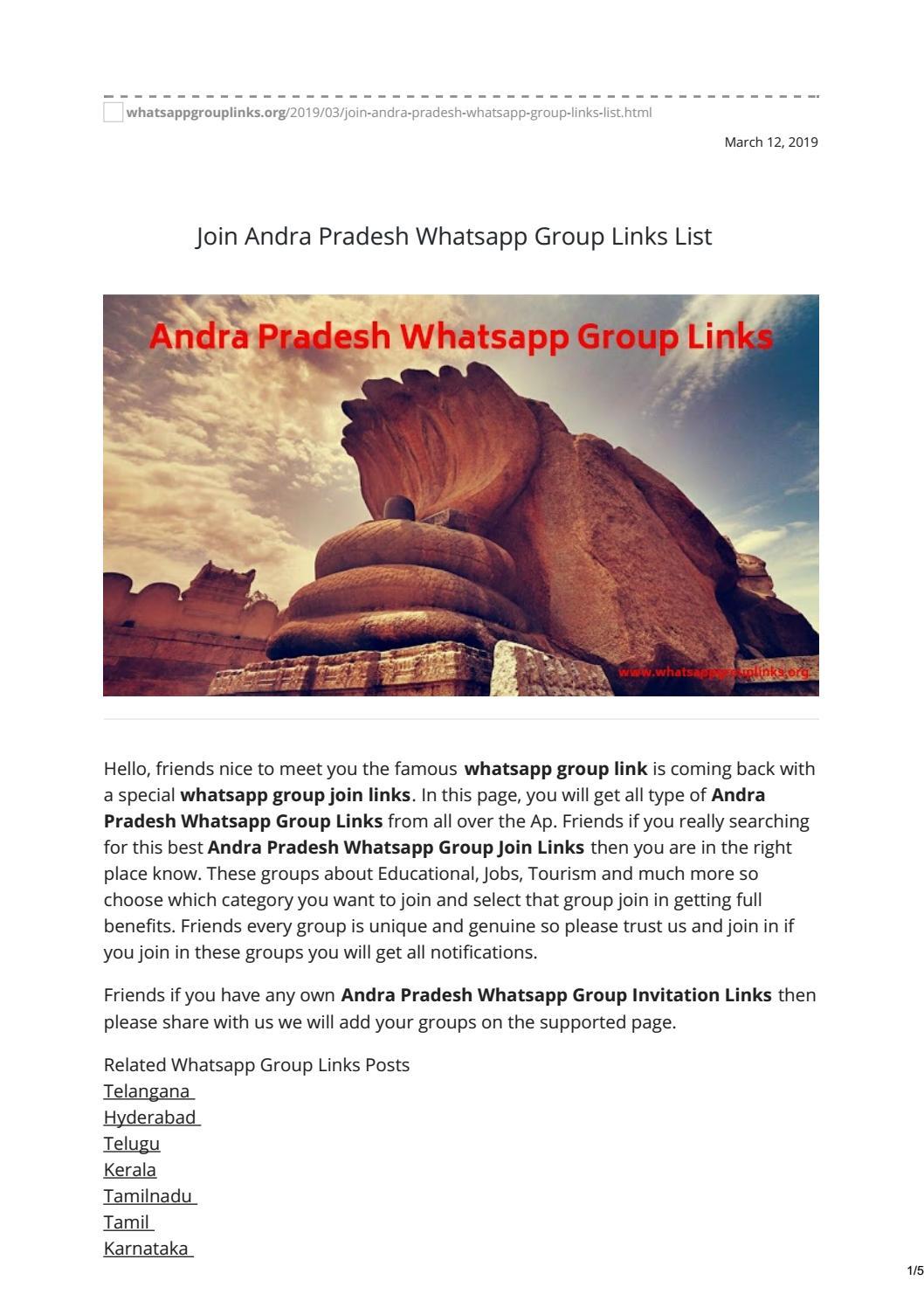 Join Andra Pradesh Whatsapp Group Links List by whatsapp group links