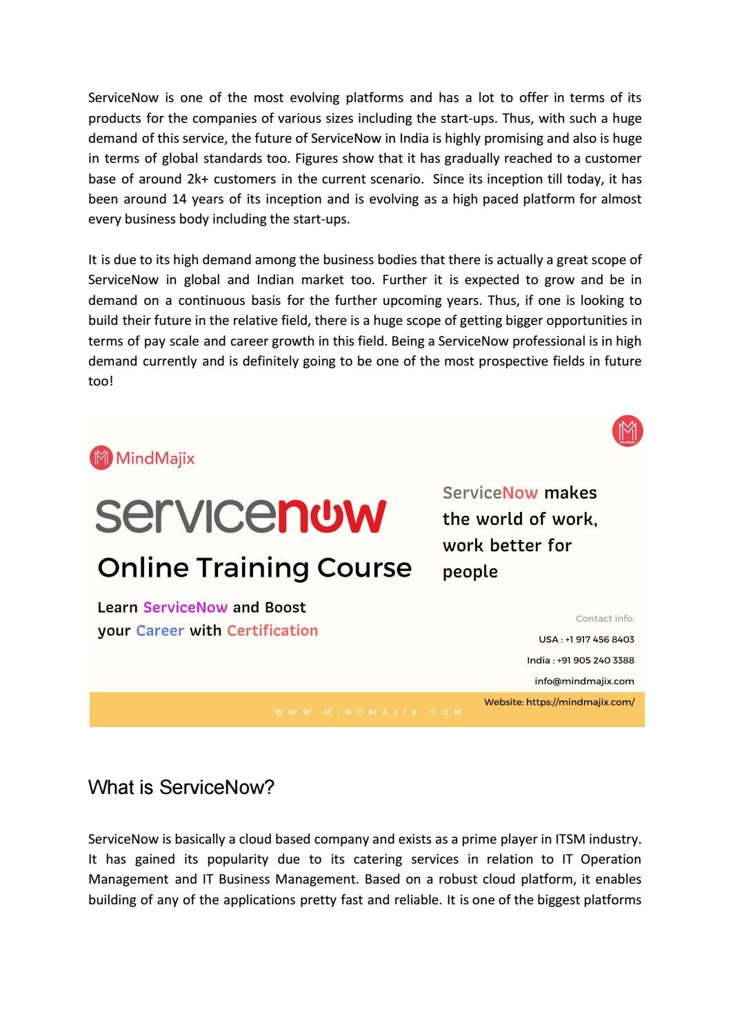 ServiceNow Future Career growth by Mindmajix by Nikhil john