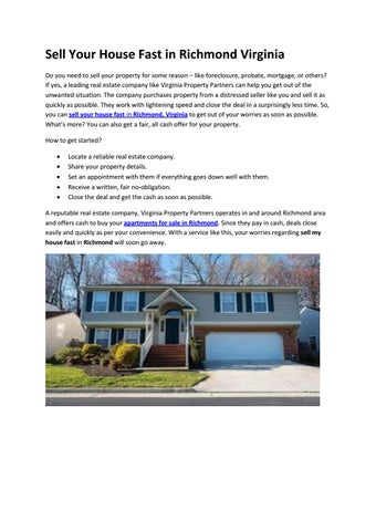 Sell Your House Fast in Richmond Virginia by Rockey Smith - issuu