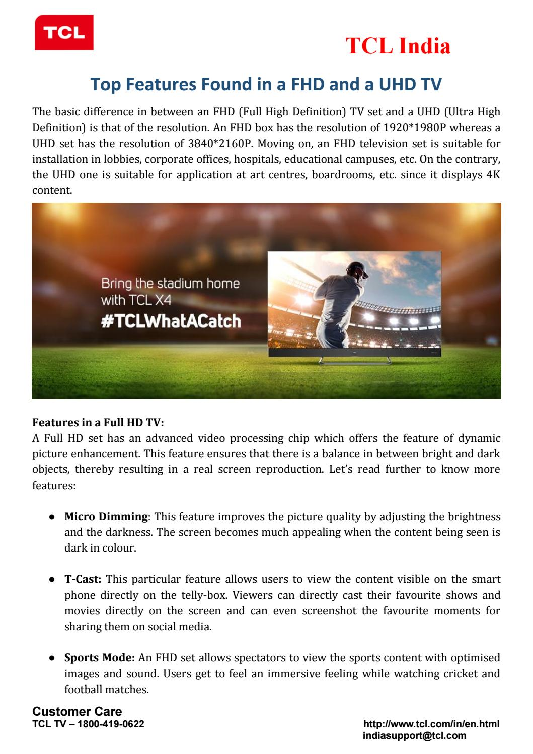 Top features found in a FHD and a UHD TV by Tanjni Pache - issuu