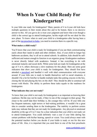 Is Your Child Ready For Kindergarten >> When Is Your Child Ready For Kindergarten Top Preschool In By