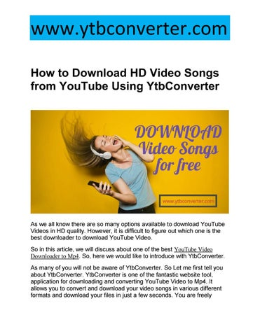 how to download youtube video songs