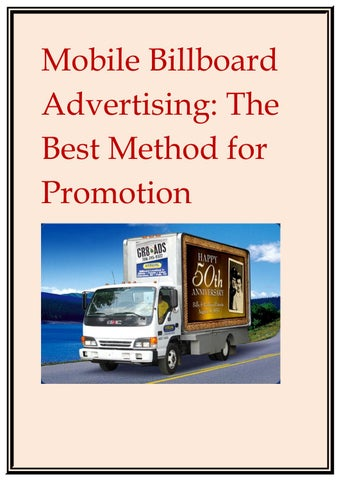 Mobile Billboard Advertising: The Best Method for Promotion