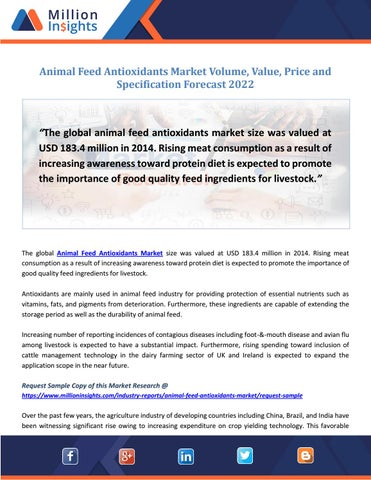 Animal Feed Antioxidants Market Size & Forecast Report, 2012