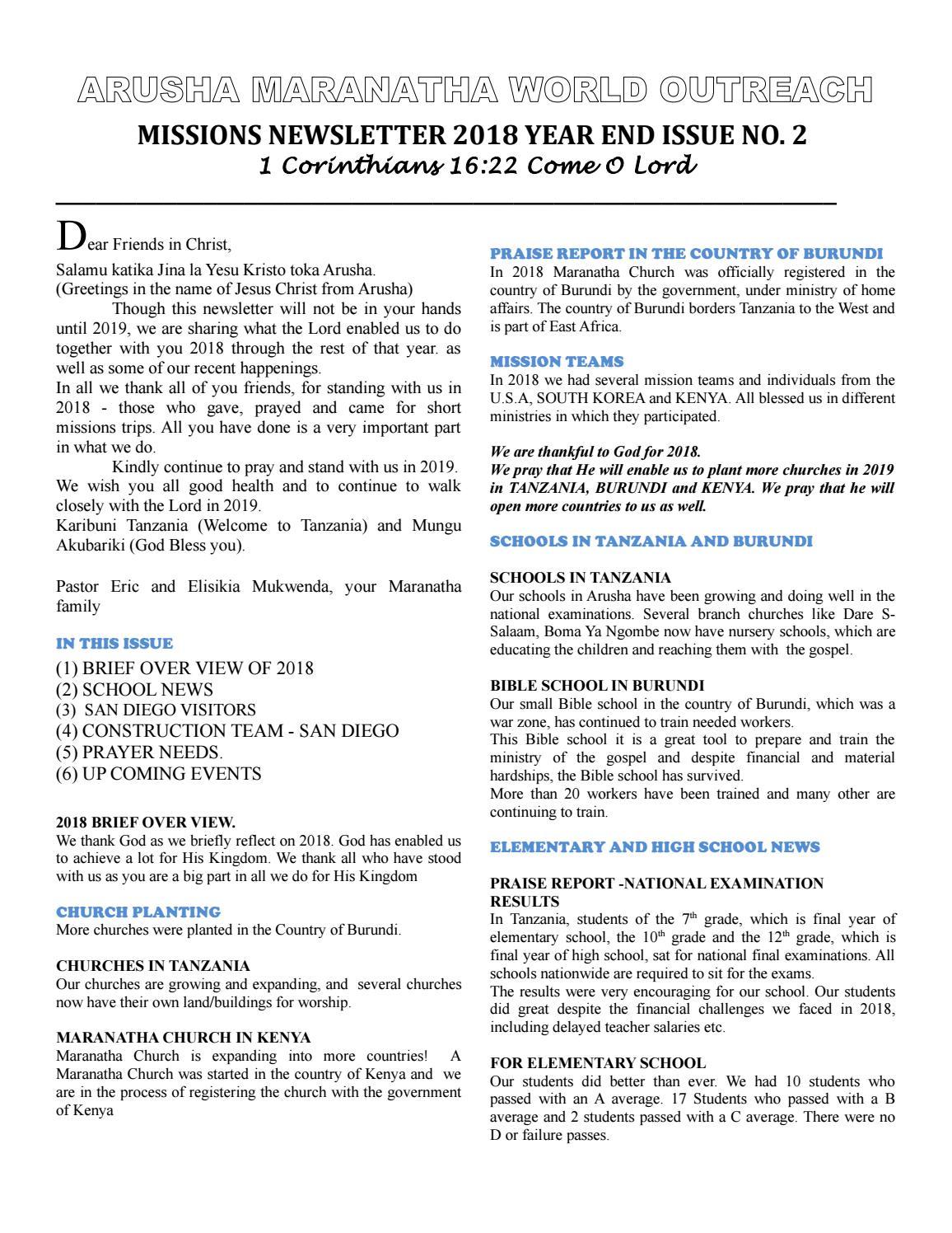 Arusha Maranatha World Outreach Newsletter by Eva Sonko - issuu