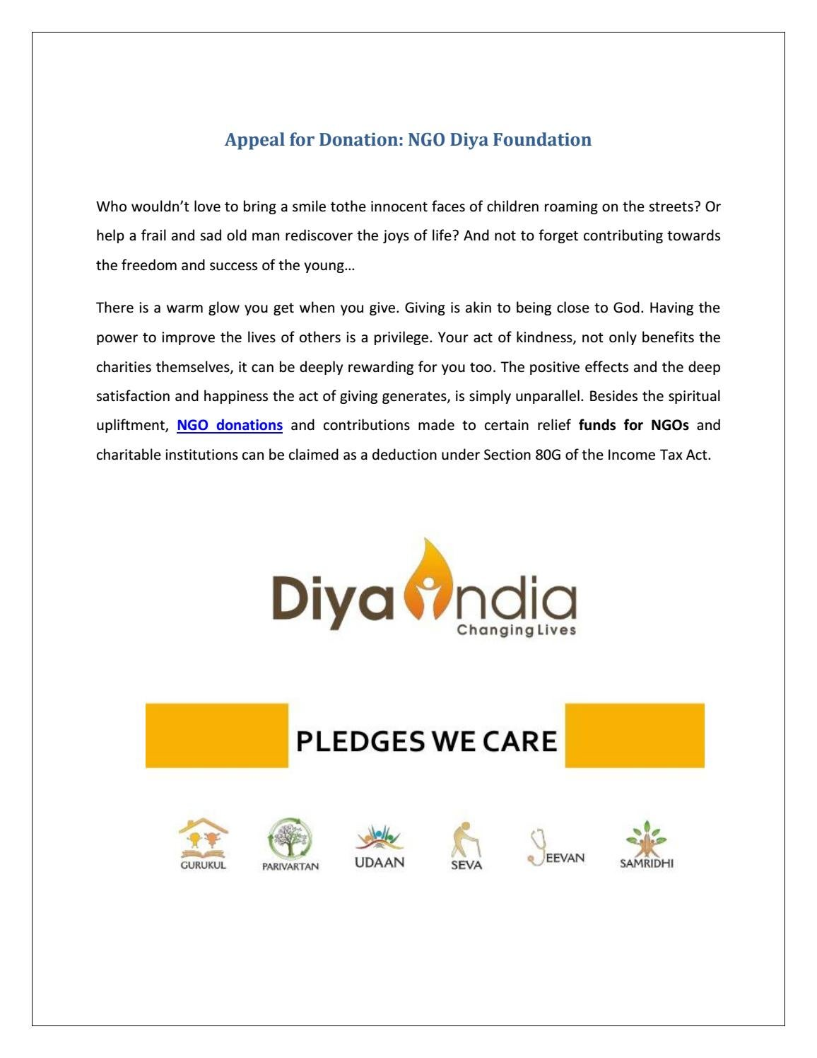 Appeal For Donation By Diya India Issuu