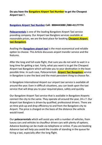 Do you have the Bangalore Airport Taxi Number to get the Cheapest