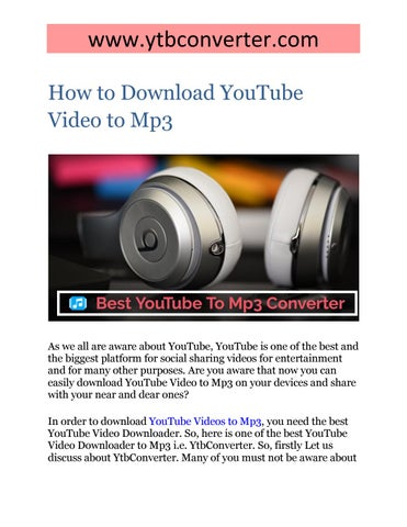 How to Download YouTube Video to Mp3 by tamannatrank - issuu