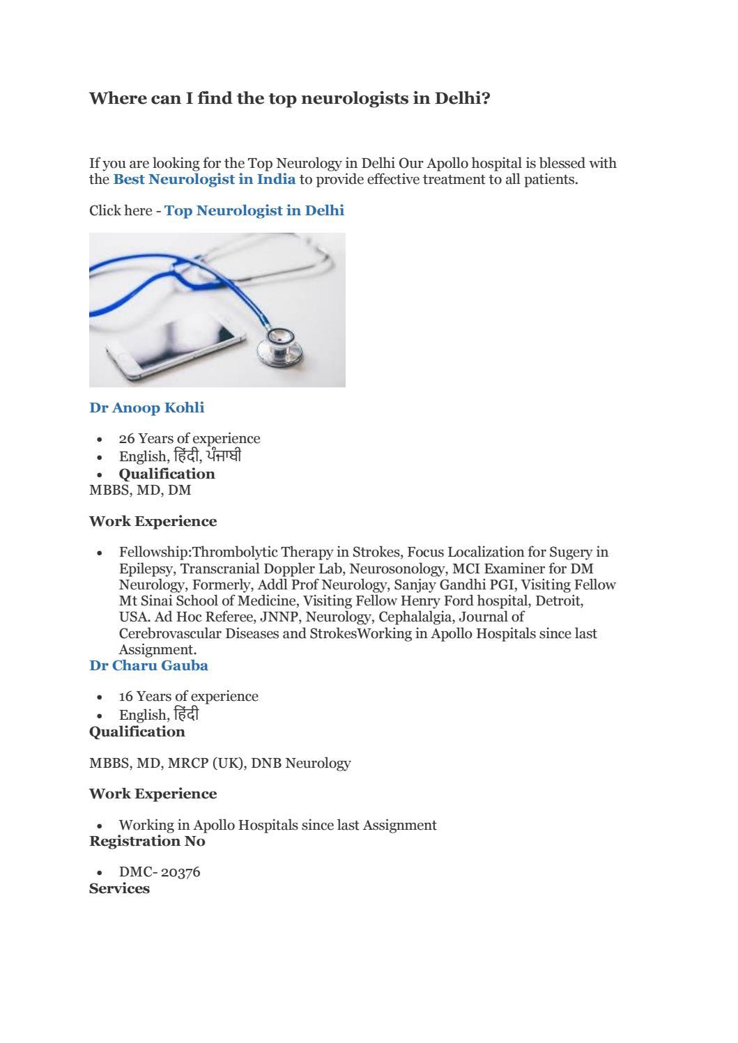 Where can I find the top neurologists in Delhi? by Amar kumar - issuu