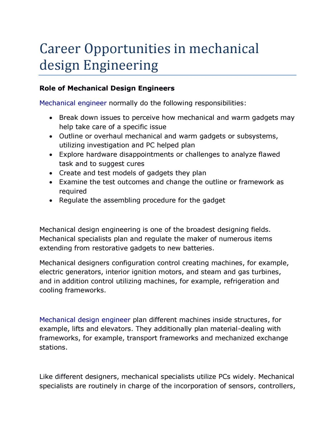 Career Opportunities In Mechanical Design Engineering By Adityakurapati14 Issuu