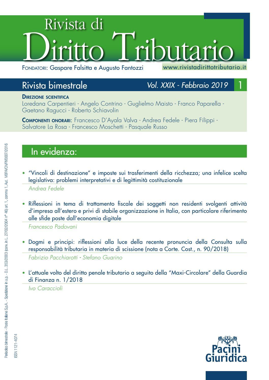 db9a3e2421f4 Rivista Diritto Tributario 1/2019 by Pacini Editore - issuu