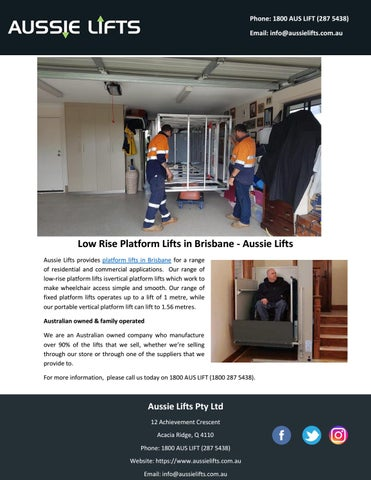 Low Rise Platform Lifts in Brisbane - Aussie Lifts by aussieliftssem