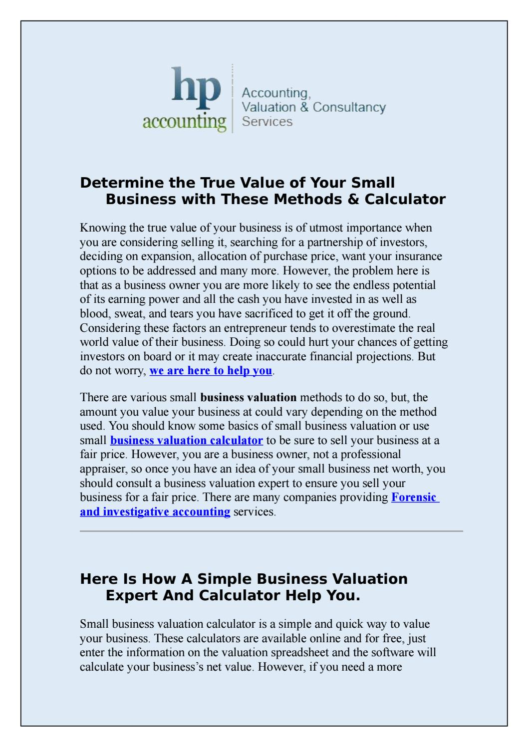 Determine The True Value Of Your Small Business With These Methods Calculator By Hpaccounting1 Issuu