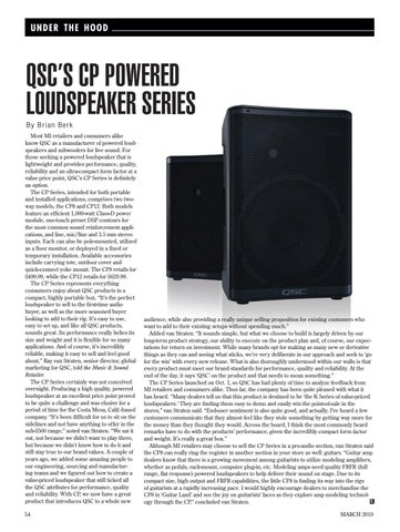 Page 54 of UNDER THE HOOD: QSC'S CP POWERED LOUDSPEAKER SERIES