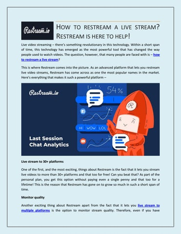 How to restream a live stream? Restream is here to help! by