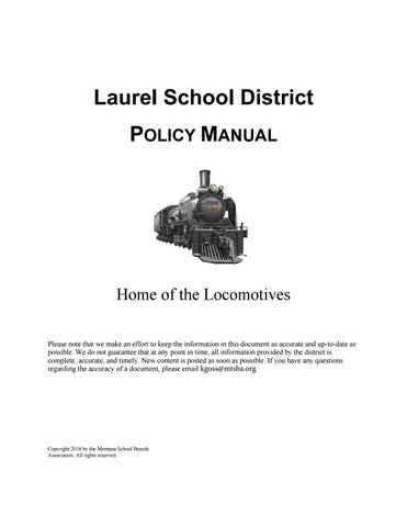 24b492a558989c Laurel Public Schools Policy Manual by Montana School Boards ...